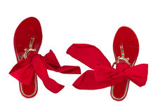 Woman shales with red bows Royalty Free Stock Image