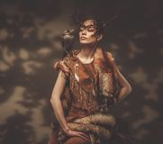 Woman shaman in ritual garment Stock Images