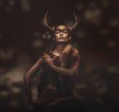 Woman shaman in ritual garment Stock Photography