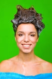Woman with shampoo in her hair Royalty Free Stock Images