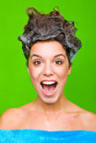 Woman with shampoo in her hair stock photos