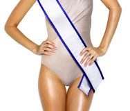 Woman shape with beauty contest. Part of woman shape with white tape of beauty contest Stock Image