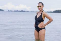 Woman shape big with  bikini on beach. At Ban Krut Beach, Prachuap Khirikhan Province Thailand Royalty Free Stock Images