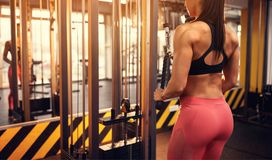 Woman shaping body muscles. Athletic woman shaping body muscles in gym Royalty Free Stock Images