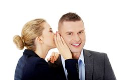 Woman share a secret Stock Image