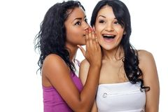 Woman share a secret to her friend. stock photography