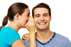 Woman Sharing Secret With Man Stock Images