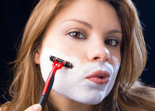 Woman shaves Stock Photos