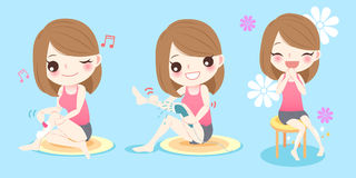 Woman with shaving leg. Beauty woman smile happily with shaving leg stock illustration