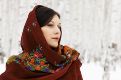 Woman in shawl. Gorgeous woman in shawl on her head Stock Images