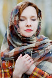 Woman in a shawl Royalty Free Stock Photography