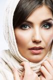 Woman shawl portrait. Woman shawl close up face portrait. Hand face touch Stock Image