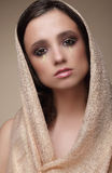 Woman in Shawl with Dramatic Stagy Makeup Stock Images