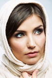 Woman shawl portrait. Woman shawl close up face portrait. Hand face touch Royalty Free Stock Photos