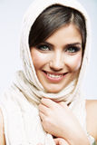 Woman shawl portrait. Woman shawl close up face portrait. Smiling girl Royalty Free Stock Photo