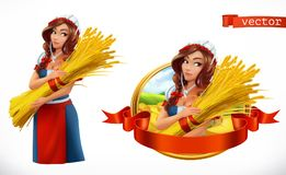 Woman with a sheaf of wheat. 3d vector icon Royalty Free Stock Image