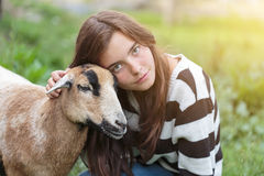 Woman and sheep Royalty Free Stock Photo
