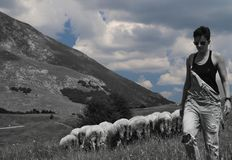 Woman with sheeps in the background. The image was processed to be black and white with blue clouds Stock Photography