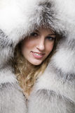 Woman in sheepskin Stock Photo