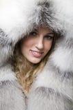 Woman in sheepskin Stock Photo