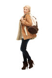 Woman in sheepskin jacket Royalty Free Stock Photography