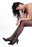 Woman in sheer tights Stock Photo