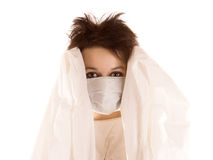 Woman in shield mask Royalty Free Stock Photo