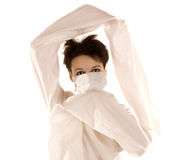 Woman in shield mask Royalty Free Stock Photography
