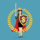 Woman with shield sword and golden wreath. Symbol of victory and achievement Stock Photos