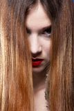 Woman shiny straight long hair and make-up Royalty Free Stock Photo