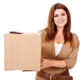 Woman shipping a box Stock Images