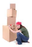 Woman Shipping Boxes Royalty Free Stock Photography
