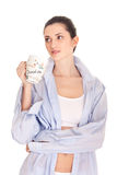 Woman in shirt with cup coffee Stock Photos