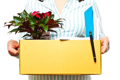 Woman in a shirt holding a box with her belongings. After being hired / fired Royalty Free Stock Photography