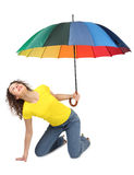 Woman in shirt with multicolored umbrella Royalty Free Stock Images