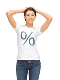Woman in shirt with percent sign Royalty Free Stock Photos