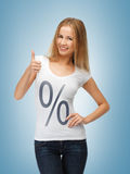 Woman in shirt with percent sign Stock Photography