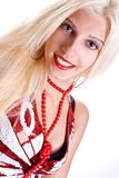 Woman in shirt with red beads Royalty Free Stock Photo