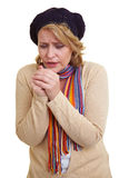 Woman shivering in the cold Royalty Free Stock Image