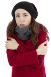 Woman shivering because of cold Royalty Free Stock Images
