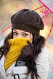 Woman shivering outside in cold autumn Stock Images