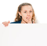 Woman in shock from billboard text Stock Images