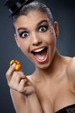 Woman in shock by gem Royalty Free Stock Images