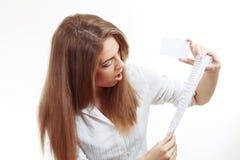 Woman shock receipt Stock Photo