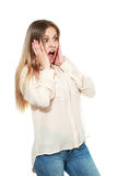 Woman in shock Royalty Free Stock Photography
