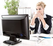 Woman shocked computer crash at office. Royalty Free Stock Photos