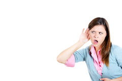 Woman shocked and disgusted by what she hears Stock Photo