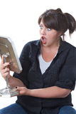 Woman Shocked Looking In Mirror Stock Photos