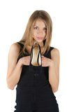 Woman with a shoe Stock Photos