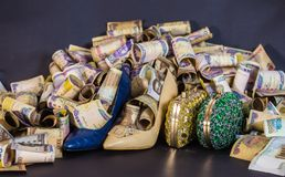 Woman shoe and Bag in cash and paper currencies stock photography